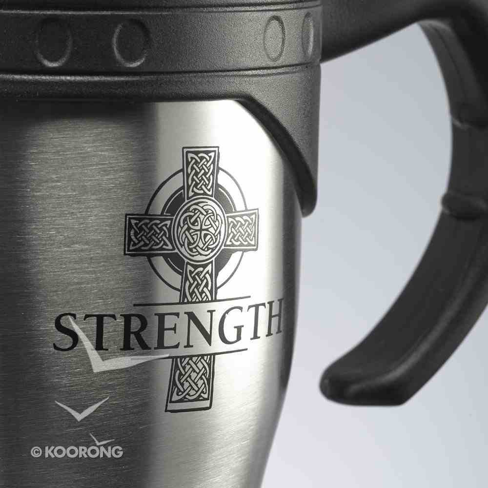 Stainless Steel Travel Mug With Handle: Strength, Ephesians 6:10 Homeware