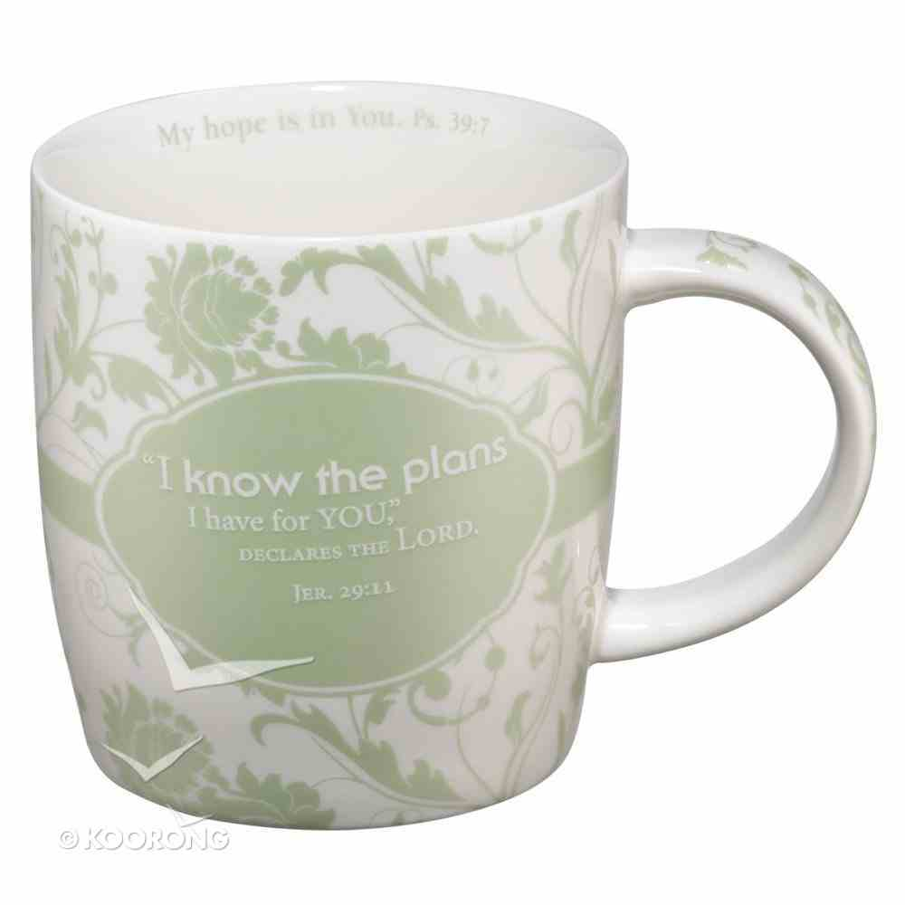 Ceramic Mug: I Know the Plans, Light Green/White Homeware