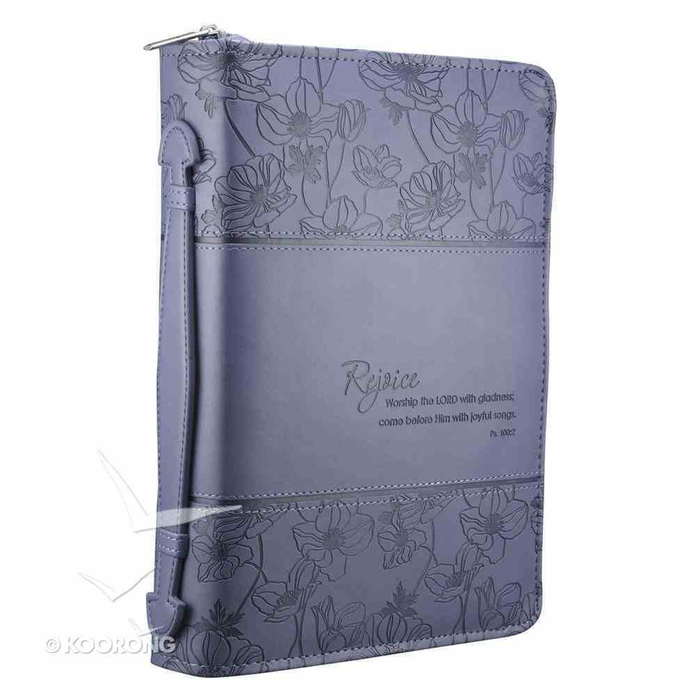 Bible Cover Rejoice Blue/Purple Large Psalm 100: 2 Fashion Trendy Luxleather Imitation Leather