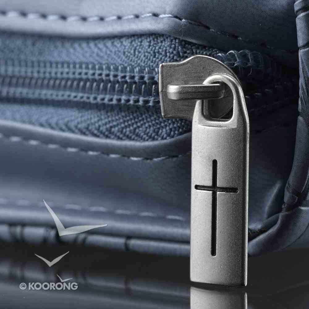 Bible Cover Rejoice Blue/Purple Medium Psalm 100: 2 Fashion Trendy Luxleather Imitation Leather