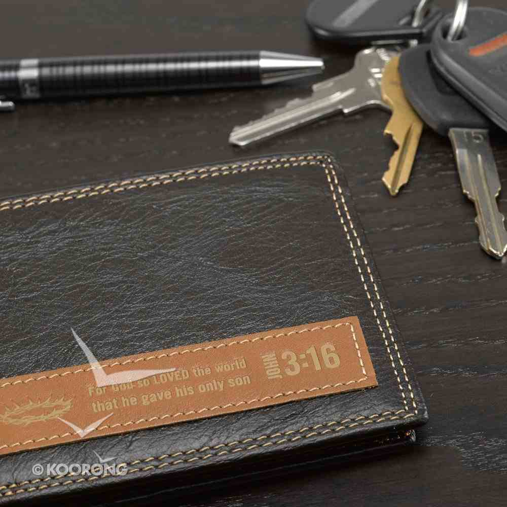 Mens Genuine Leather Wallet: John 3:16 Soft Goods