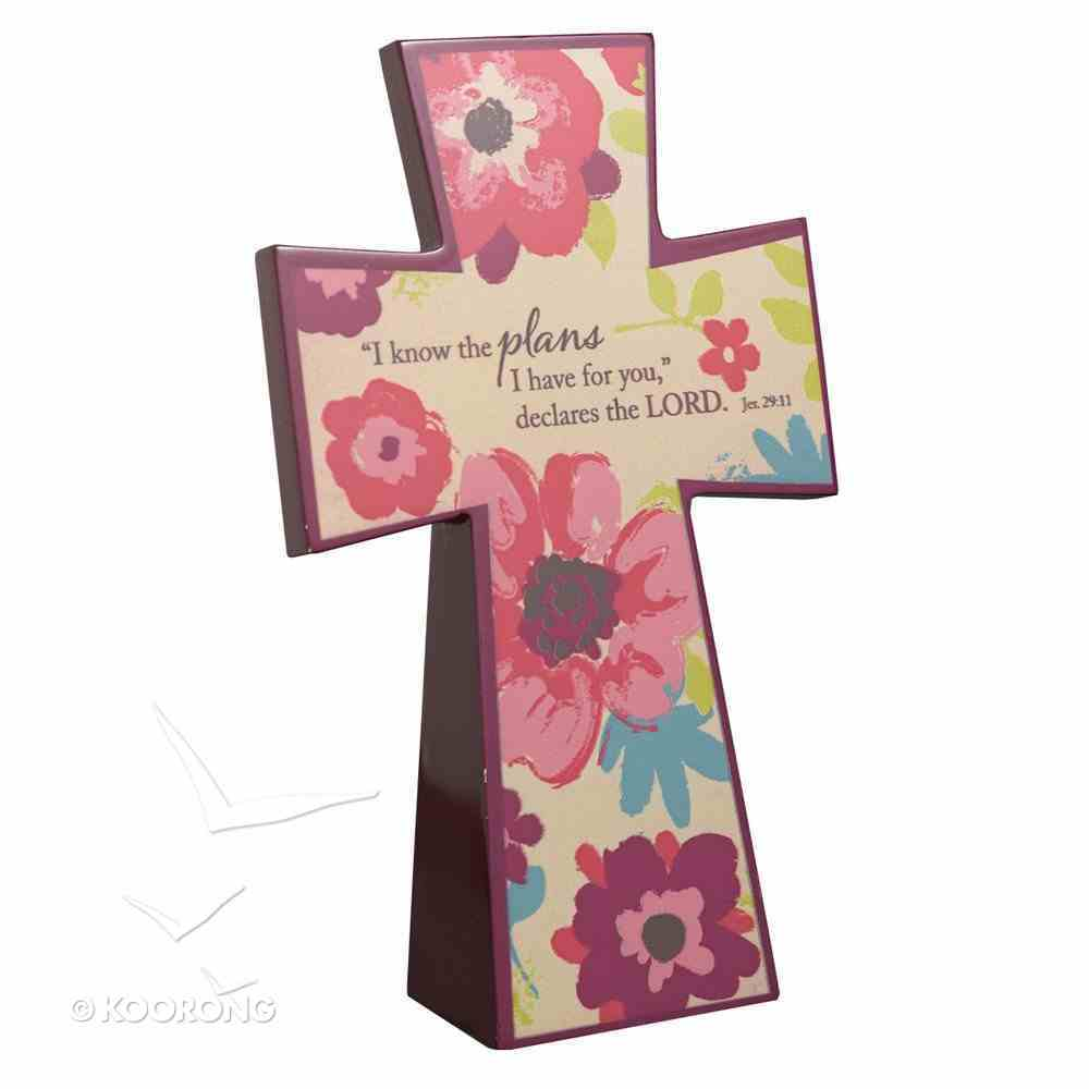 Wooden Cross: Cream Floral I Know the Plans I Have For You (Jer 29:11) Plaque