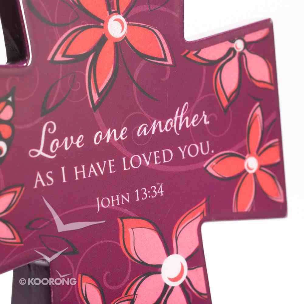 Wooden Cross: Maroon Floral Love One Another (John 13:34) Plaque