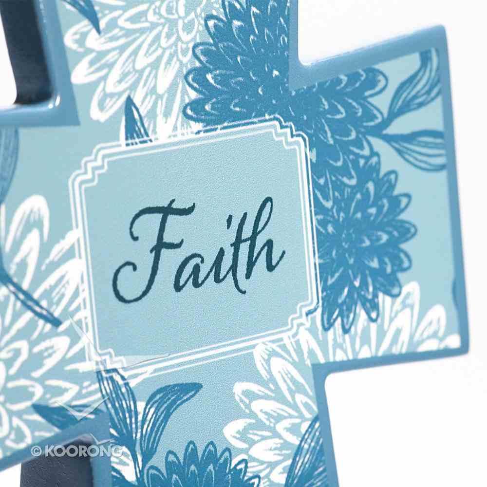 Wooden Cross: Blue Floral Faith Plaque