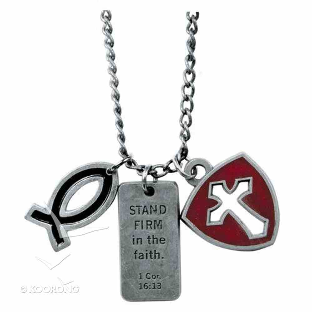 Dog Tag: Stand Firm, Fish & Cross Shield Jewellery