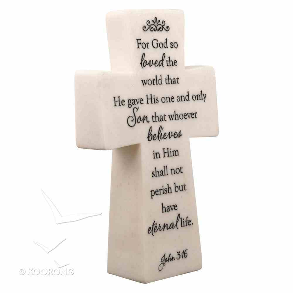 Polystone Cross: John 3:16 White Plaque