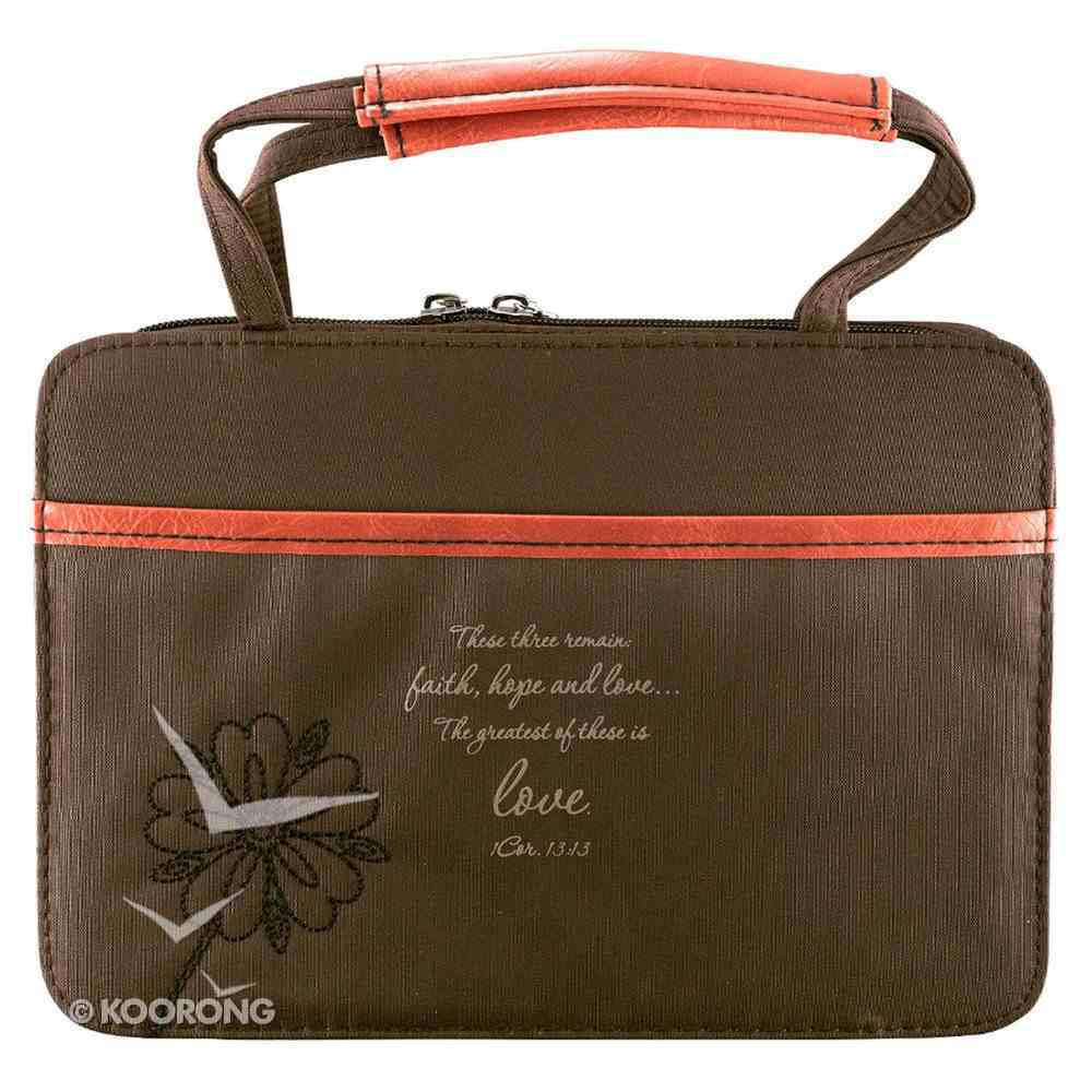 Bible Cover Micro-Fiber: Brown/Red Love Large Bible Cover