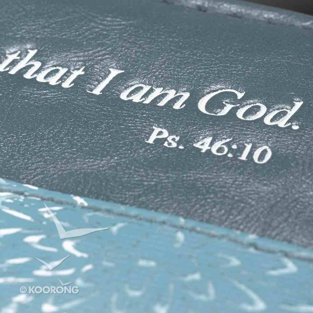 Bible Cover Blue Printed Canvas Medium - Psalm 46: 10 Bible Cover