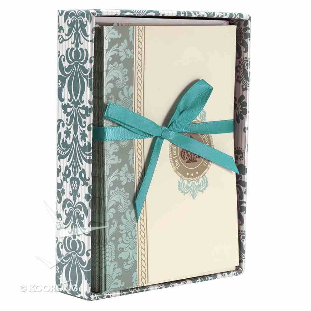 Boxed Cards: Grace and Glory Blue/Cream Pattern (8 Cards/envelopes) Box