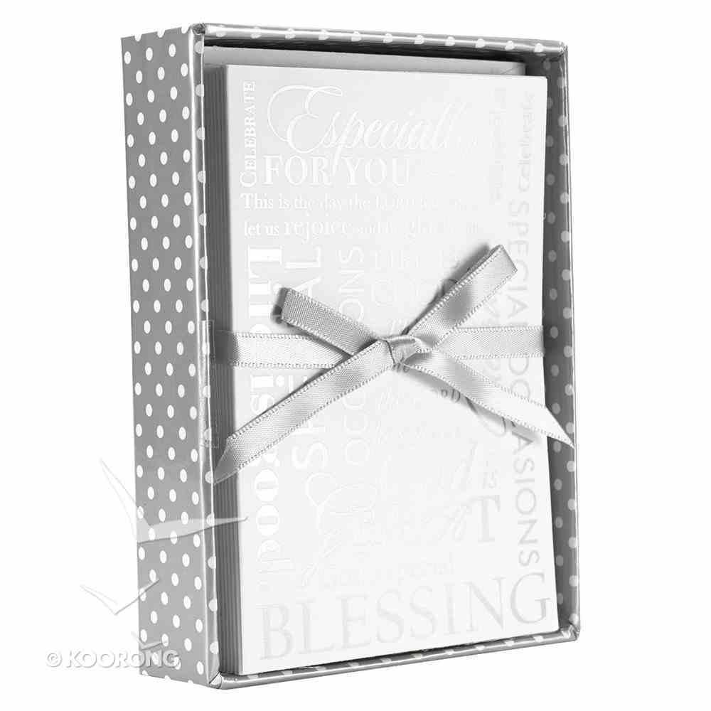 Boxed Cards: Rejoice White/Gray (8 Cards/envelopes) Box