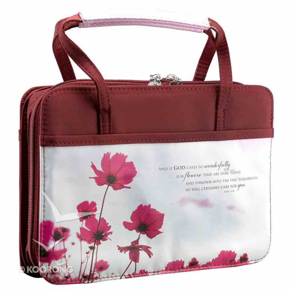Bible Cover Purse-Style: Maroon With Poppies Medium - Matthew 6:30 Bible Cover