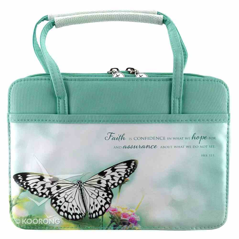 Bible Cover Purse-Style Medium: Aqua Butterfly - Hebrews 11:1 Bible Cover