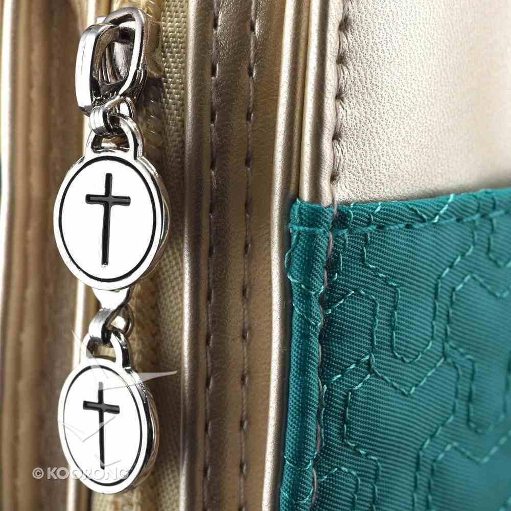 Bible Cover Purse-Style Large: Pattern-Stitched Blue/Gold Bible Cover