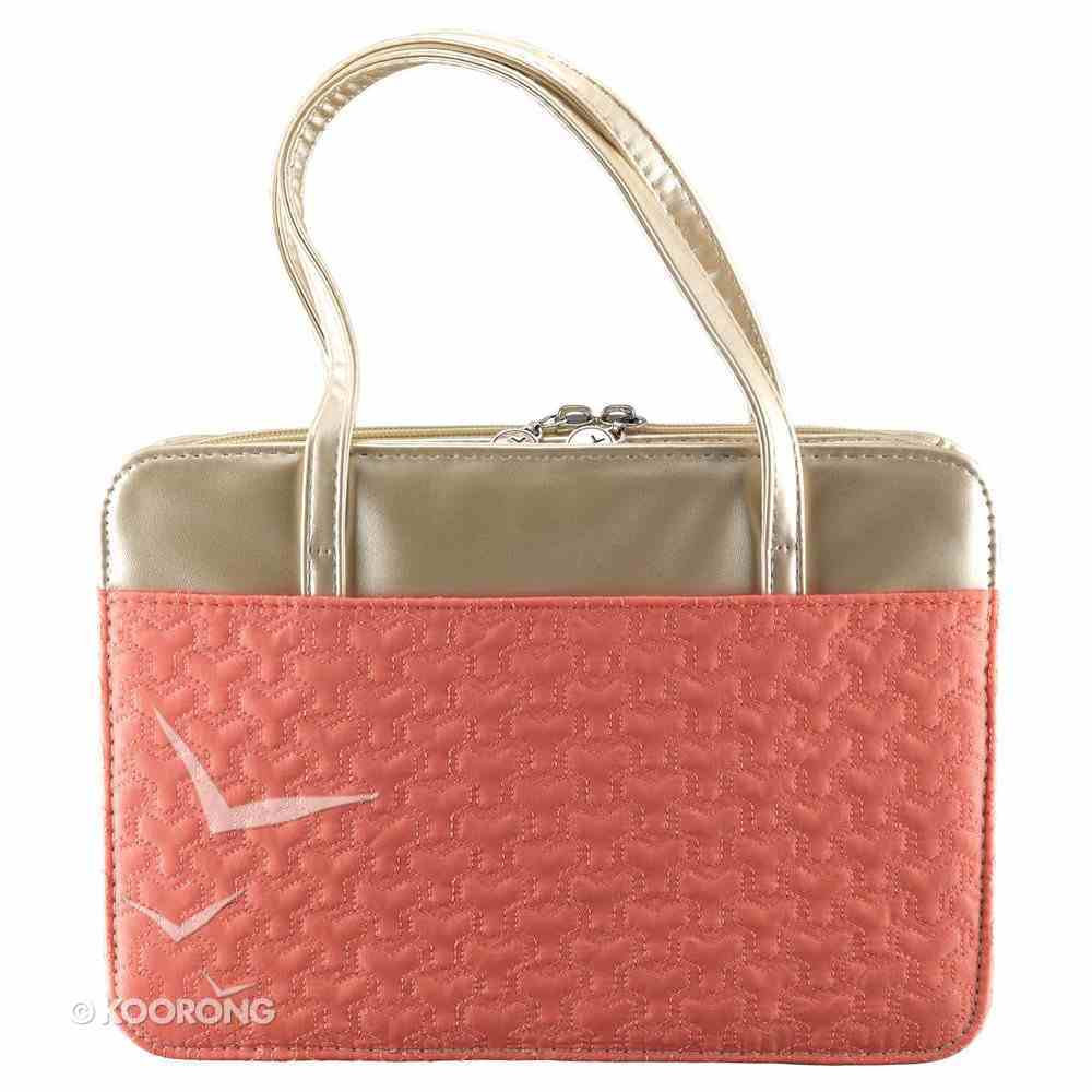 Bible Cover Purse-Style Medium: Pattern-Stitched Coral/Gold Bible Cover