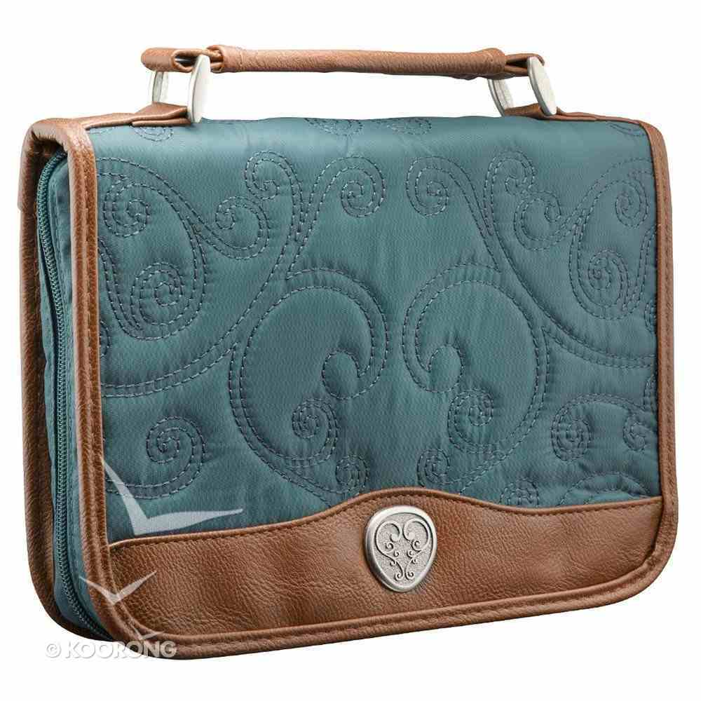 Bible Cover Classic Quilted Medium: Blue/Tan Bible Cover