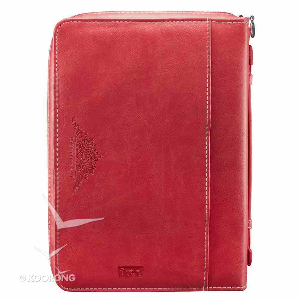 Bible Cover Pink/Orange - Large Phil 4: 13 Luxleather Imitation Leather