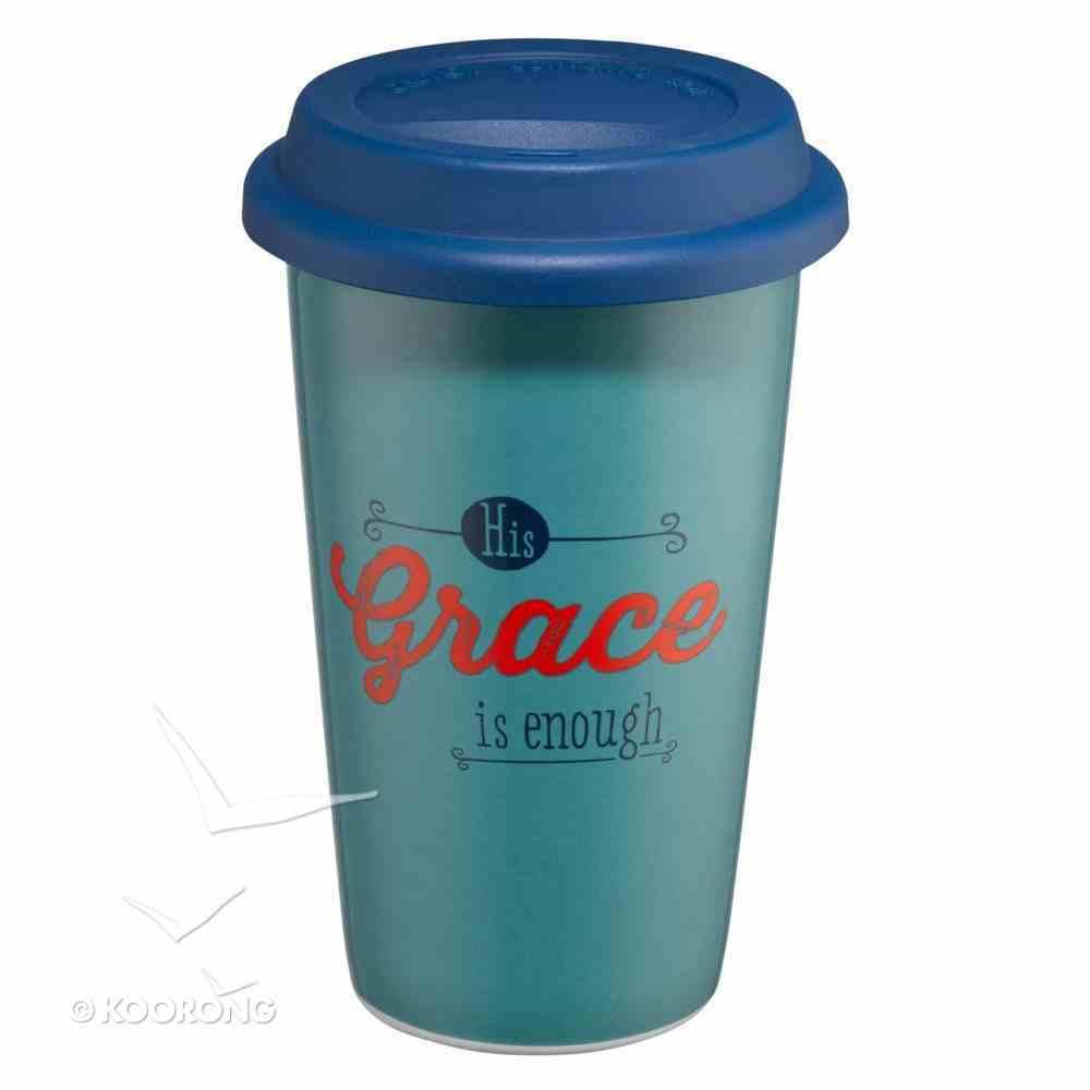 Ceramic Travel Mug With Lid: Grace (Grey/navy/red) Homeware