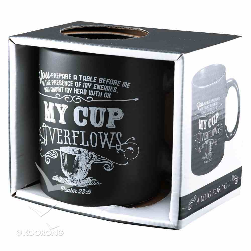 Inspirational Mug: My Cup Psalm 23:5 (Black/white) Homeware
