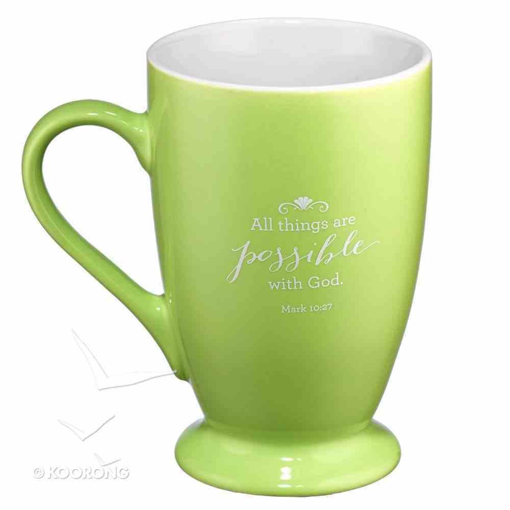 Ceramic Mug: Believe, Lime Green (Mark 10:27) Homeware