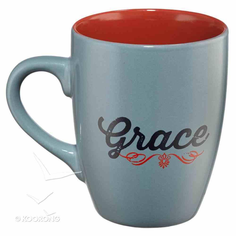 Inspirational Mug: Grace, Grey, Red & Navy (400ml) Homeware