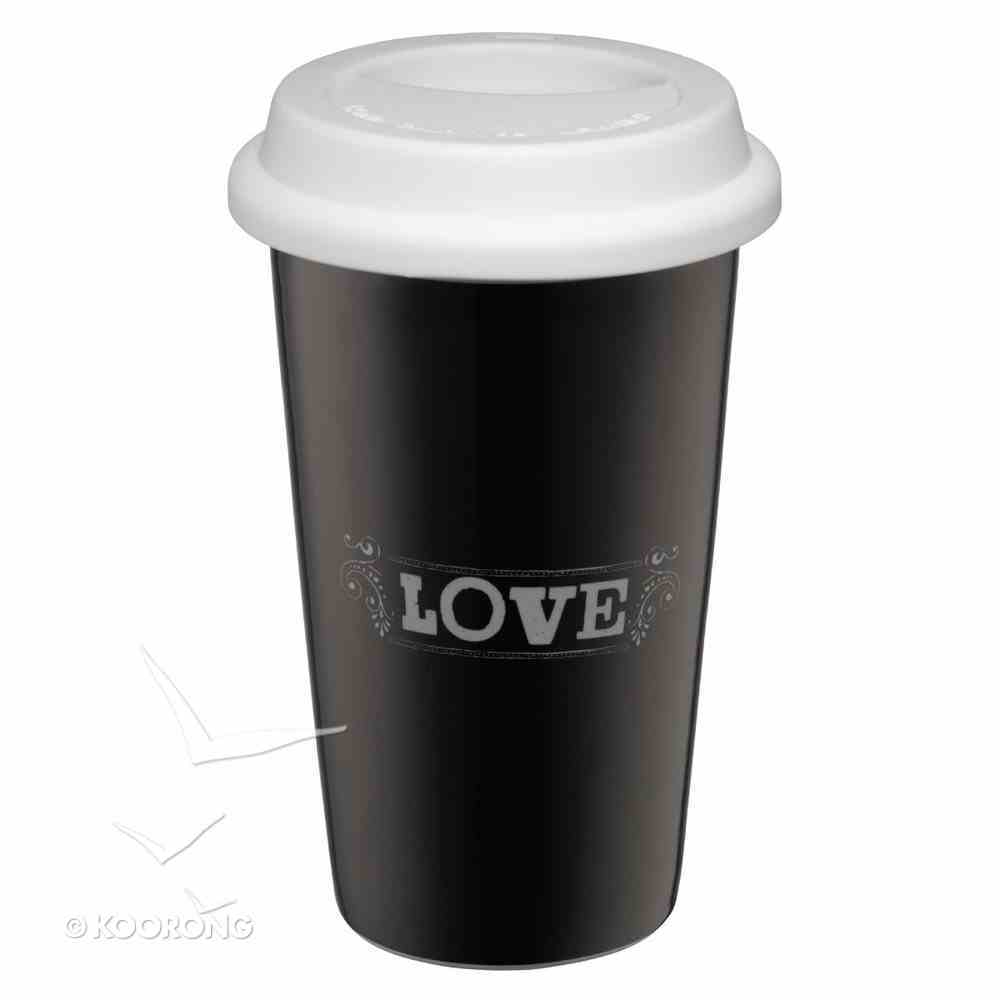 Ceramic Travel Mug With Lid: Chalk Love (Black/white) Homeware