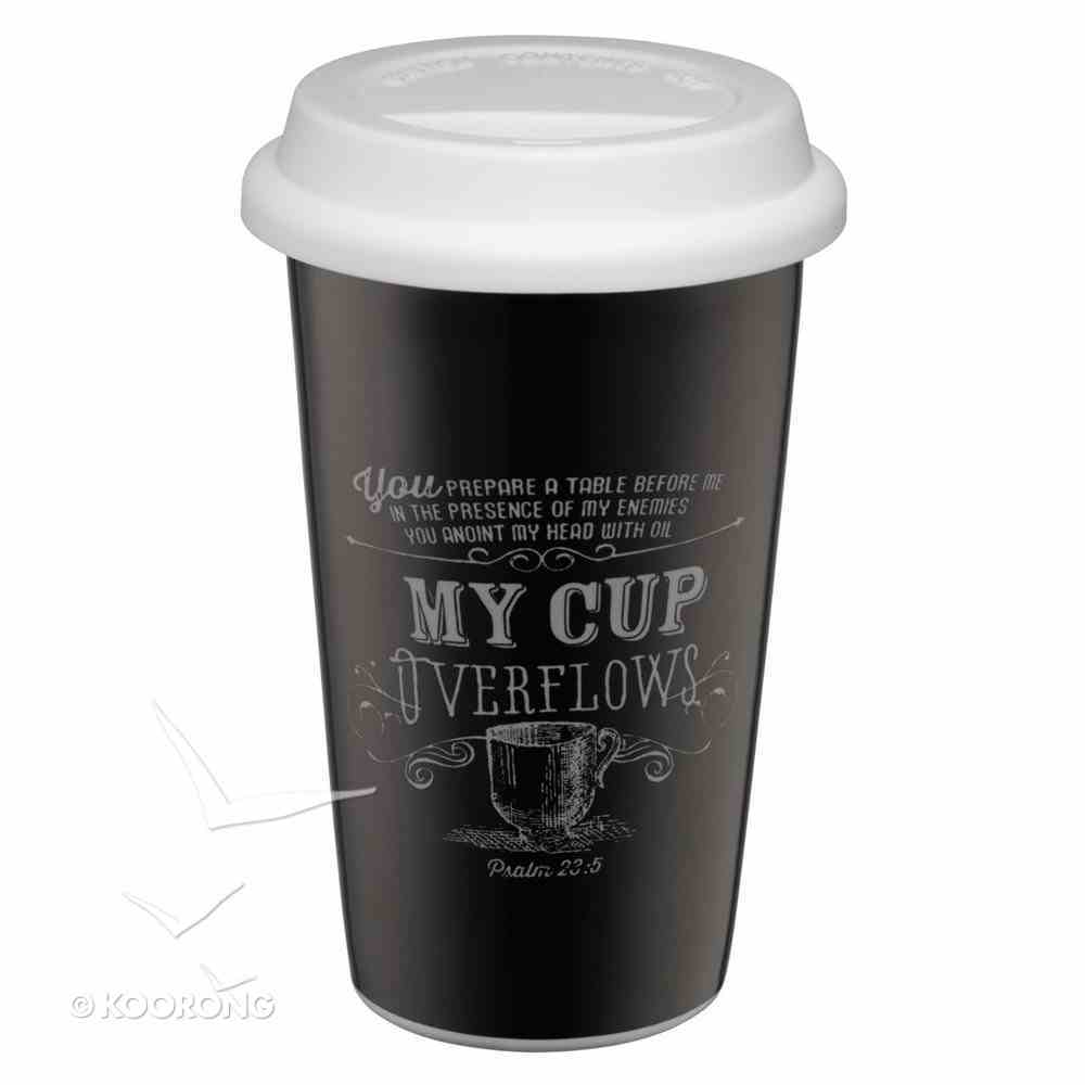 Ceramic Travel Mug With Lid: Chalk My Cup Overflows (Black/white) Homeware