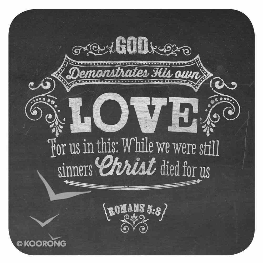 Coasters Set of 6: Chalkboard - Love, My Cup Overflows, Faithful to All His Promises (Black/white) Homeware