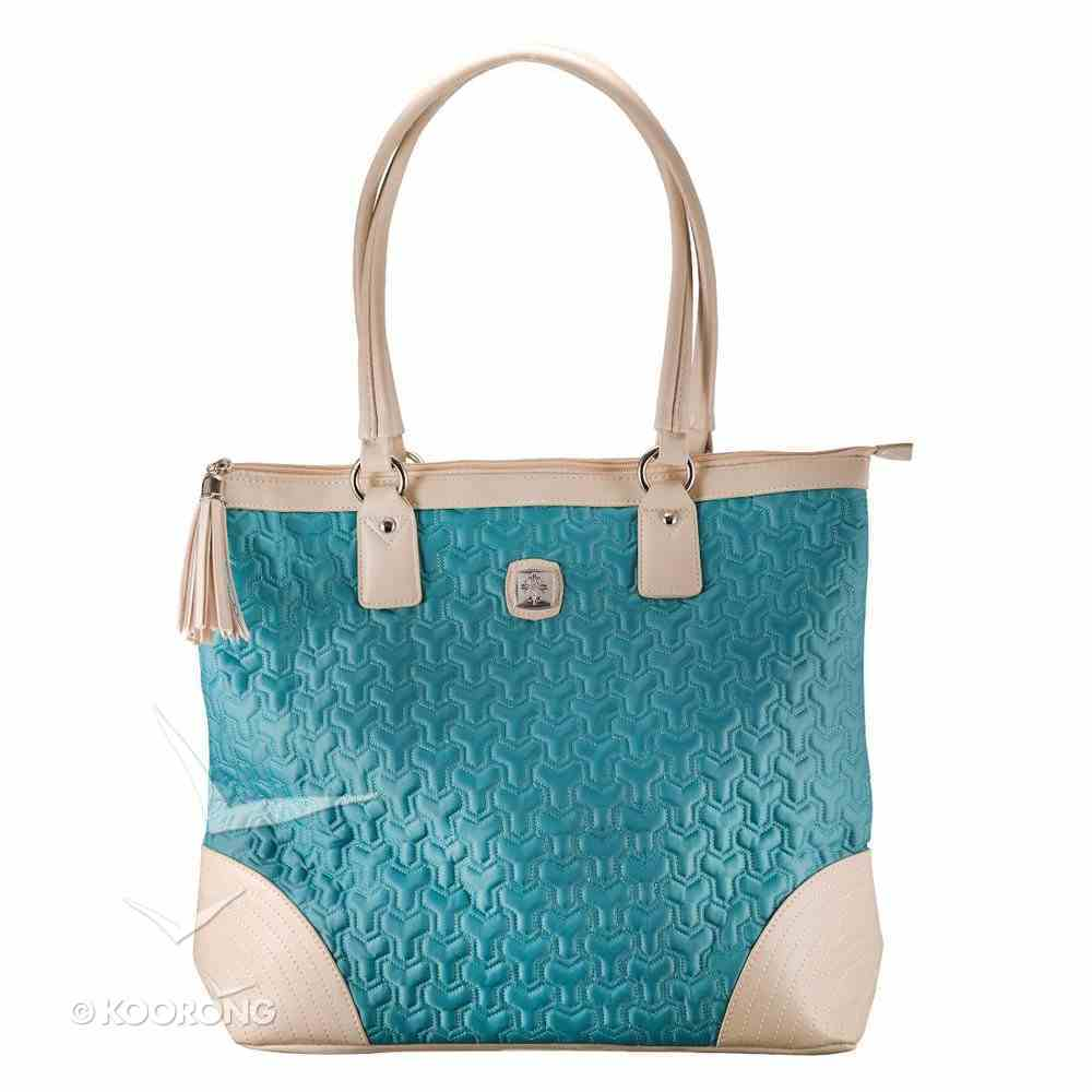 Nylon Tote Bag: Blue/Cream With Tassel and Metal Badge Soft Goods