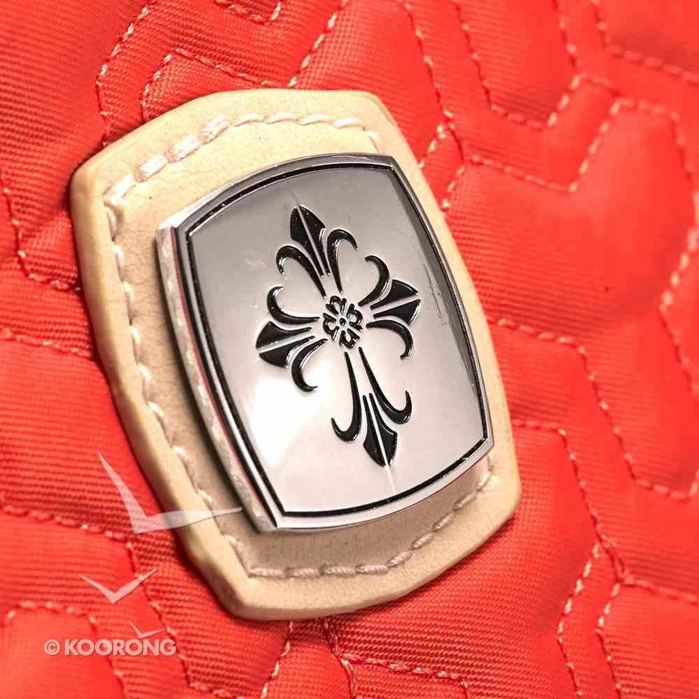 Nylon Tote Bag: Salmon/Cream With Tassel and Metal Badge Soft Goods