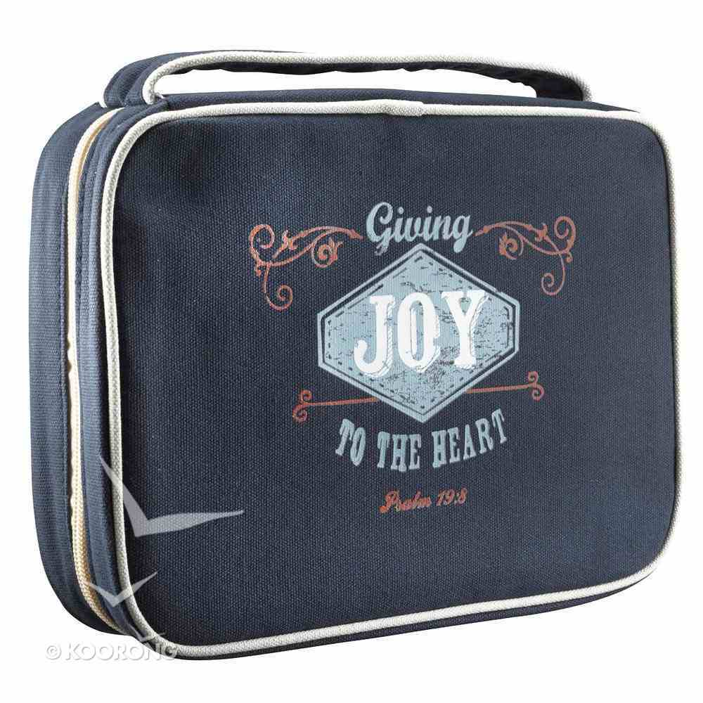 Bible Cover Canvas Dark Blue Joy Large Psalm 19: 8 Bible Cover