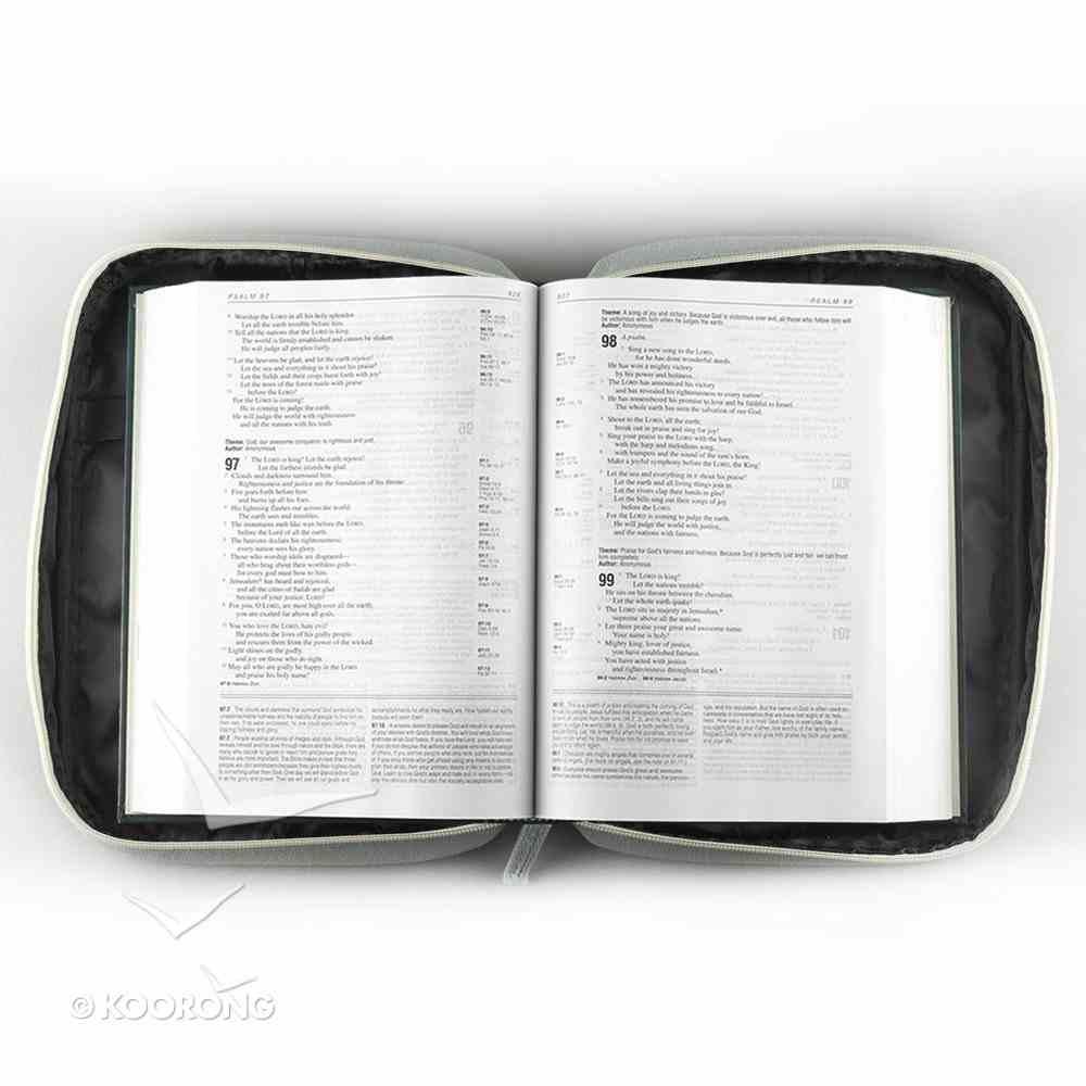 Bible Cover Canvas Grace Gray Blue Medium - 1 Tim 1: 14 Bible Cover