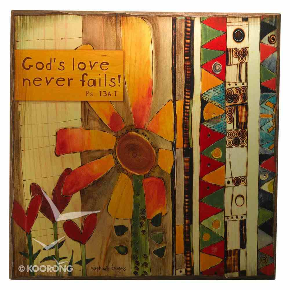Large Wooden Hanging Block: Golden Blossoms: God's Love Never Fails Plaque