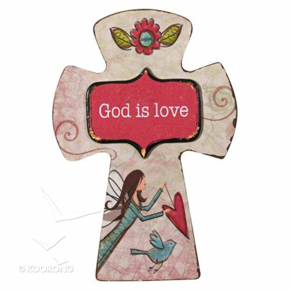Small Wooden Cross Magnet: God is Love Novelty