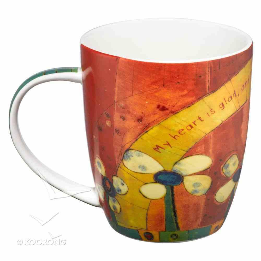 Ceramic Mug: Golden Blossoms: Rejoice, Flowers/Red Homeware