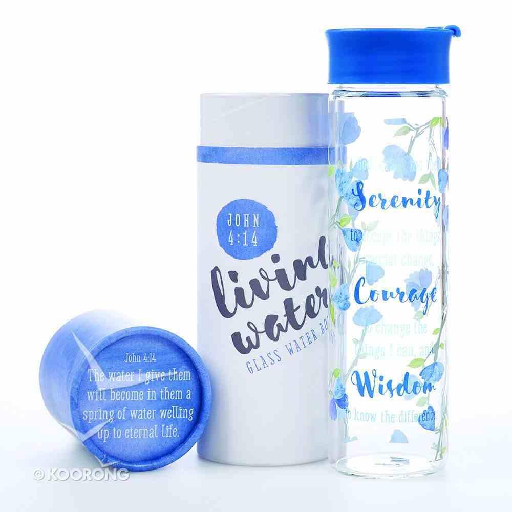 Water Bottle Clear Glass: Serenity Prayer...John 4:14 (Blue/white) Homeware