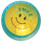 Water Ball Bouncy Ball With Blue Glitter: Jesus Loves You, 6.5cm Novelty