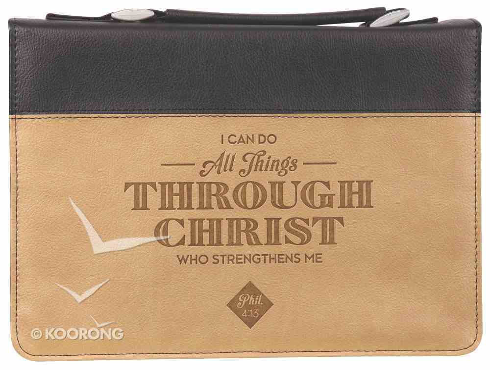 Bible Cover Large: All Things Phil. 4:13 Brown/Tan Bible Cover