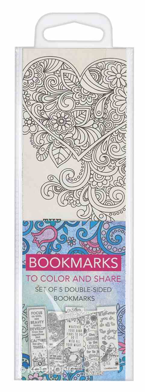 Bookmark: Adult Coloring Double Sided: Includes Scripture, Blue (Set Of 5) Stationery