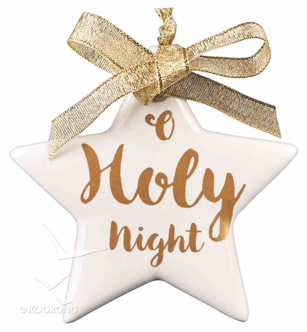 Porcelain Assorted Ornament: O Holy Night, Star (Gold/white) Homeware