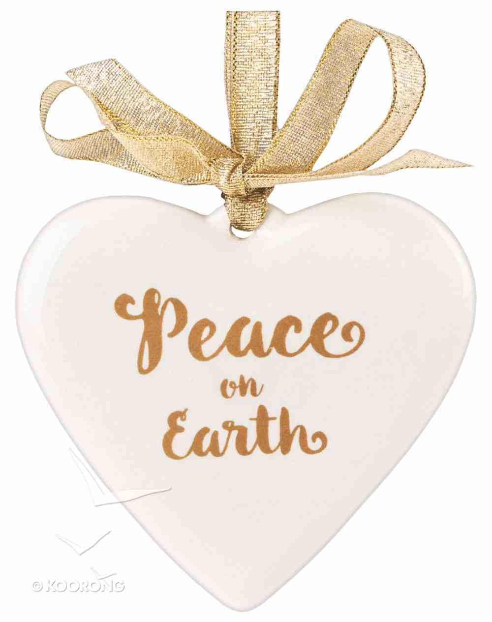Porcelain Assorted Ornament: Peace on Earth, Heart (Gold/white) Homeware