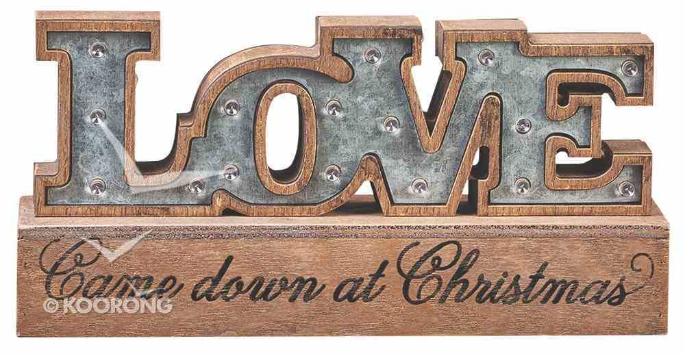 Polyresin Light Up Table Art: Love Came Down At Christmas Homeware