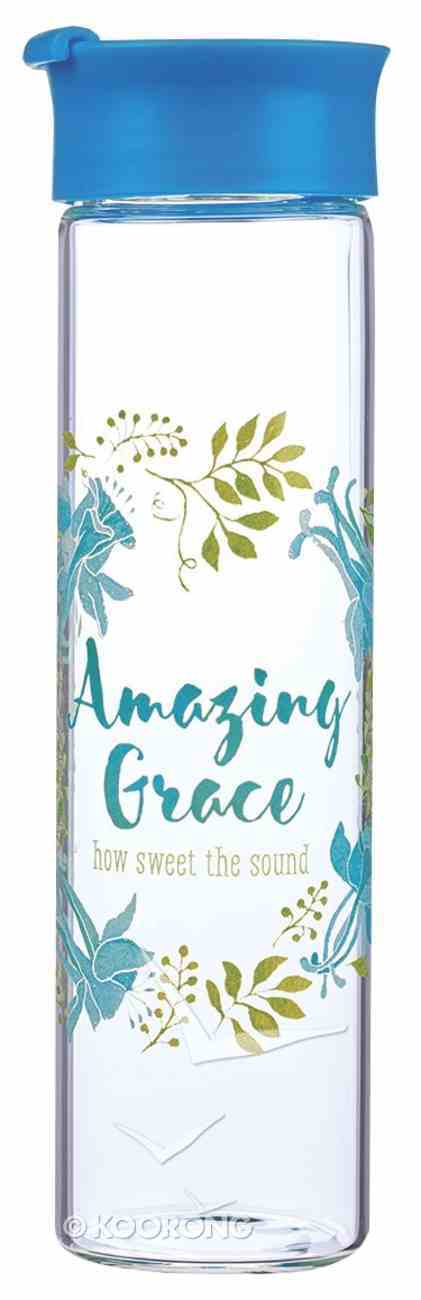 Water Bottle Clear Glass: Amazing Grace...John 4:14 Light Blue/White (Colored Wreath) Homeware