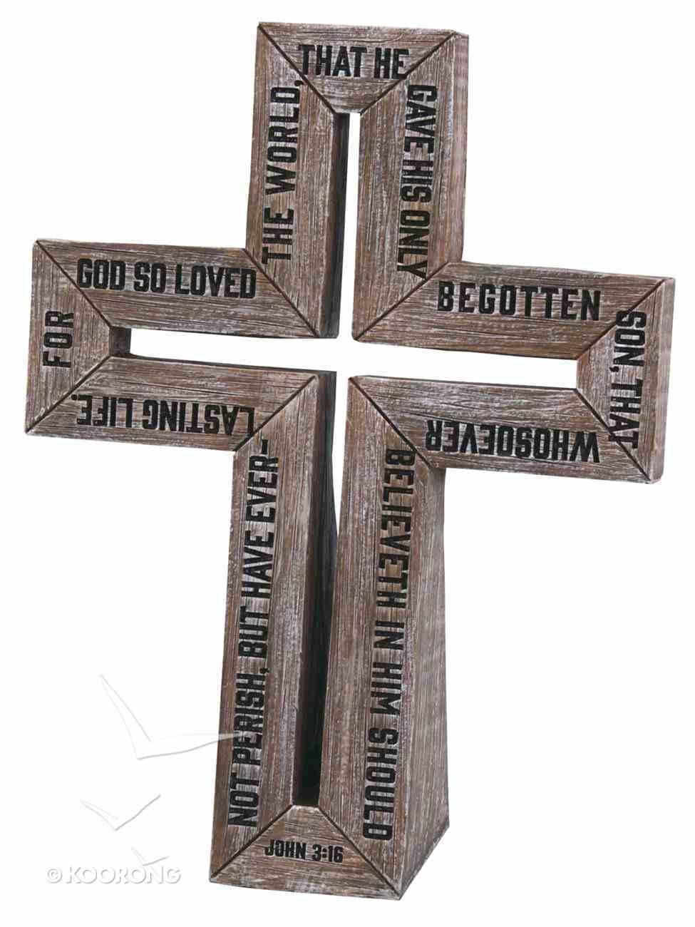 Barn Wood Cross: Small Cast Stone Cross (John 3:16) Plaque