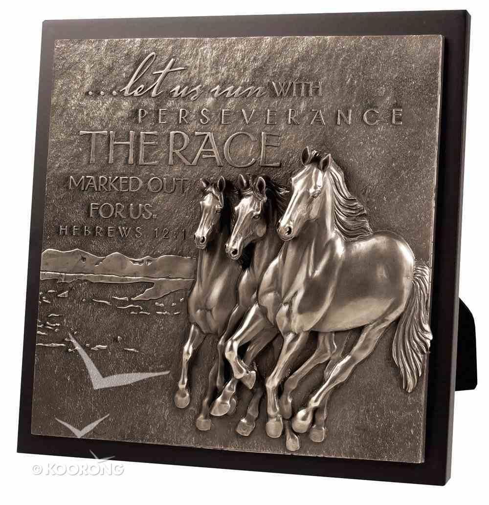 Moments of Faith Sculpture Plaque: Running Horses, Hebrews 12:1 Plaque