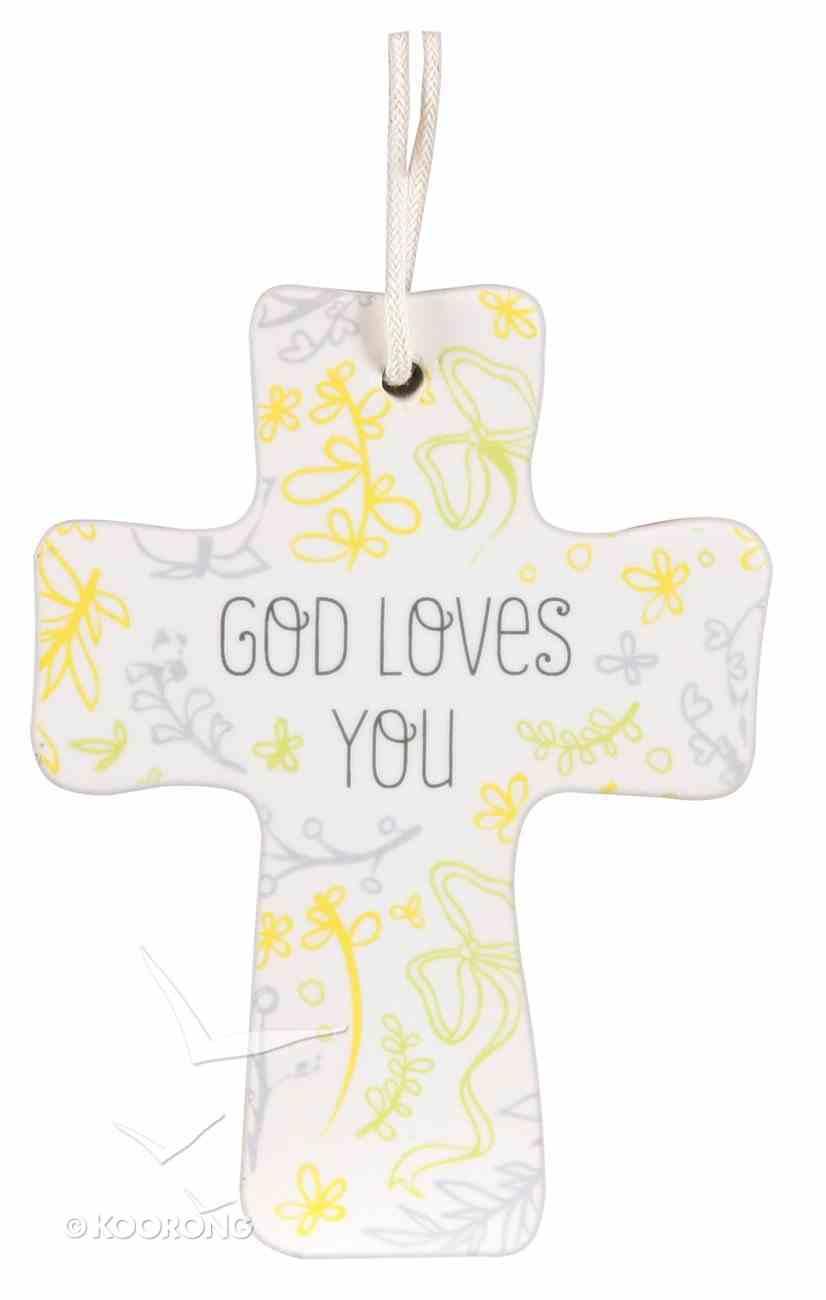 Cross Ceramic With Cord: God Loves You: Natural Blessings (1 John 3:1) Homeware