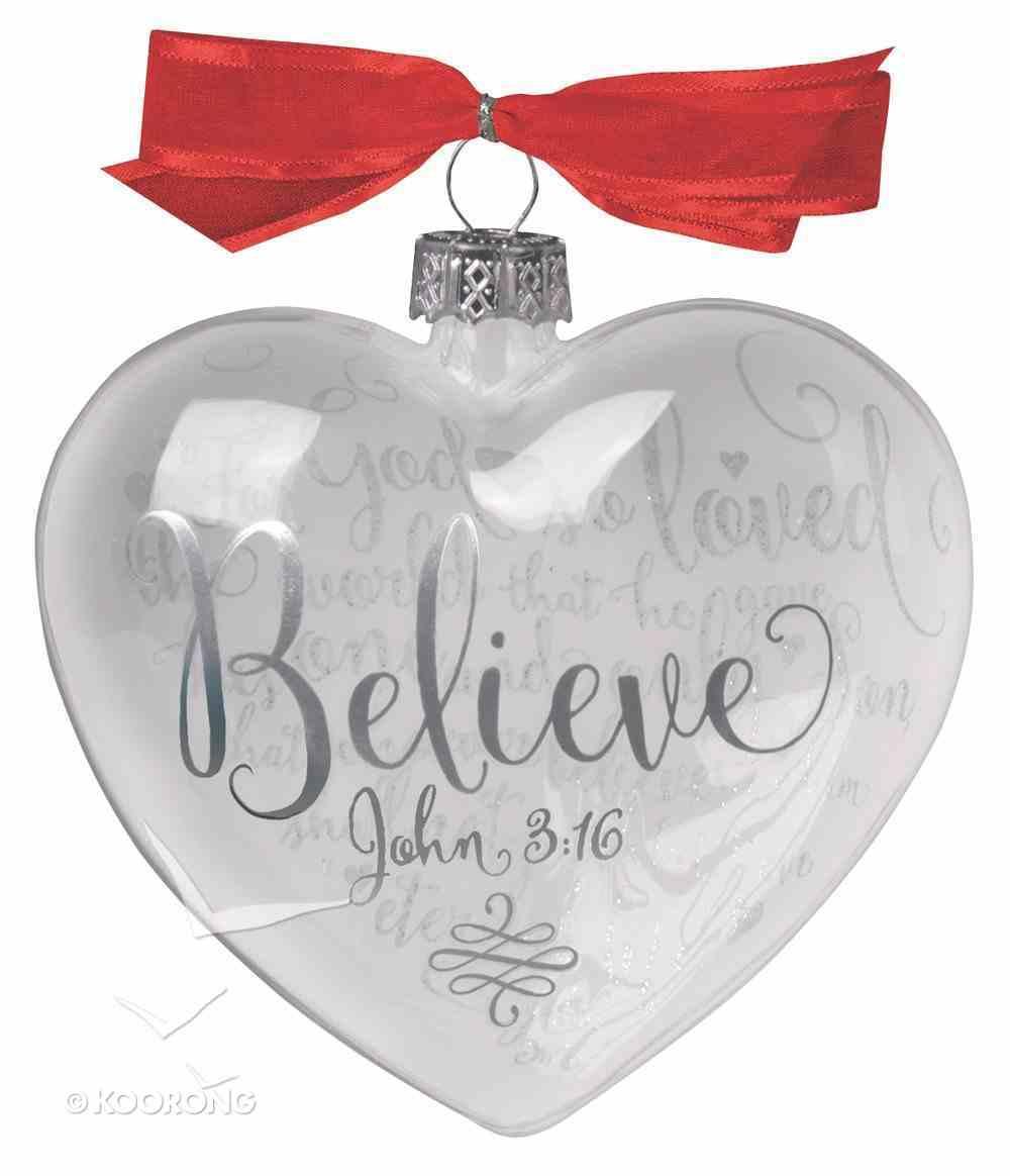 Christmas Glass Reflecting God's Love Ornament: Believe (John 3:16) Homeware