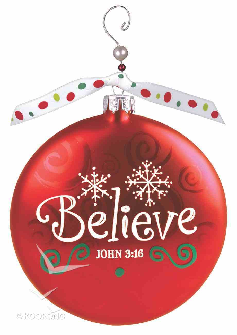 Christmas Glass Swirl With Beaded Hanger Ornament: Believe, Red (John 3:16) Homeware