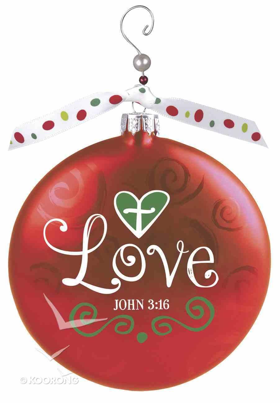 Christmas Glass Swirl With Beaded Hanger Ornament: Love, Red (John 3:16) Homeware