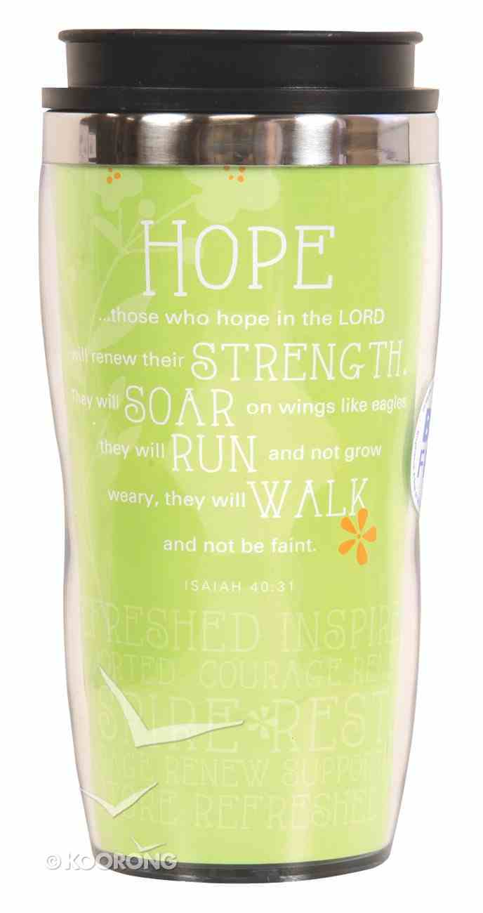 Wavy Stainless Steel Tumbler: Hope, Lime Green (Isaiah 40:31) Homeware