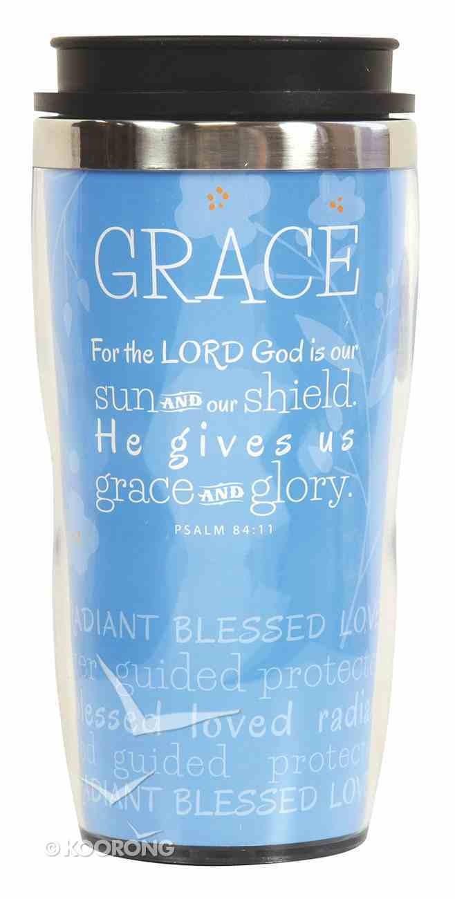 Wavy Stainless Steel Tumbler: Grace, Light Blue (Psalm 84:11) Homeware